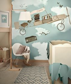 Not necessarily the painting but I like the colors for a little boy's room with model planes.  Repinned by neafamily.com.