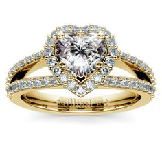 The perfect ring for the sweetest wife-to-be: The Halo Split Shank Heart Diamond Ring in Yellow Gold. Tell her it's forever with sparkle like no other!  http://www.brilliance.com/engagement-rings/halo-split-shank-diamond-ring-yellow-gold