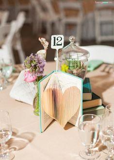 Book Centerpiece Ideas ~ Yard Sale Weddings Book Wedding Centerpieces, Diy Wedding Decorations, Floral Centerpieces, Flower Decorations, Centerpiece Ideas, Wedding Book, Clever Diy, Simple Weddings, A Table