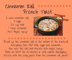 Pampered Chef Party, Pampered Chef Recipes, Breakfast Time, Breakfast Recipes, Breakfast Casserole, Rockcrok Recipes, Cinnamon Roll French Toast, Cinnamon Rolls, Tomato Soup Recipes