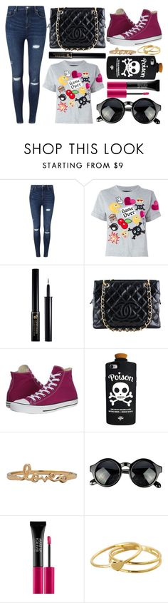"""street style"" by sisaez ❤ liked on Polyvore featuring Miss Selfridge, Philipp Plein, Lancôme, Chanel, Converse, MAKE UP FOR EVER and Gorjana"