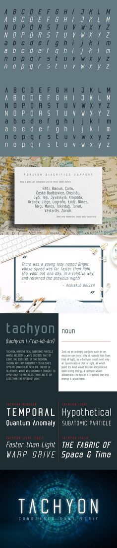 Tachyon font family combines design simplicity of modern sans serifs with futuristic feel based on condensed character concept. Its clean lines can bring Faster Than Light, Block Fonts, Professional Fonts, Custom Design, Logo Design, Font Family, Sans Serif, Cool Fonts, Magazine Design