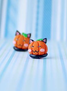 Halloween Pumpkin Earrings pumpkin cat earrings от CloverPowers