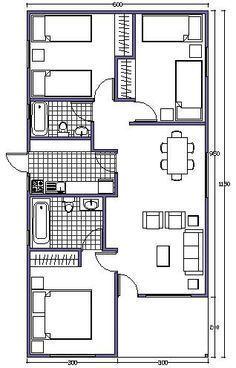 plano de casa de 63m2