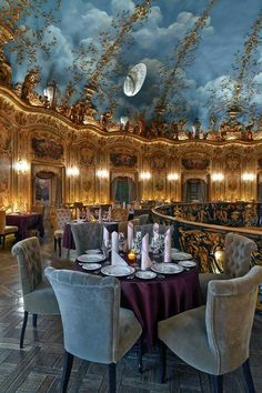 'Turandot' in Moscow, Russia. A lavishly done restaurant with silks and chandeliers, and offers a French, Japanese & Chinese menu.