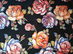 1930s 40s Watercolor / Painted Style ROSES on BLACK Cotton Fabric // 6.16 Yards