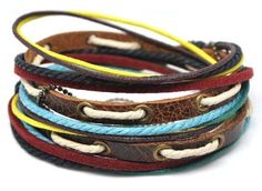 Handmade Leather and hemp wrap braclet Ships fast from by barm22, $8.50