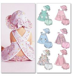 Infants dresses, diaper cover and hat pattern, cute look to it, available in AuntCarriesFabrics.  $7.50