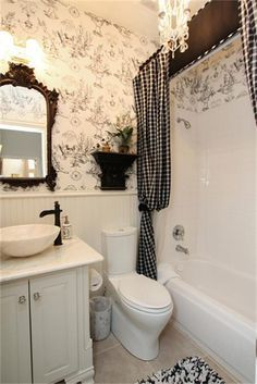 french style bathroom mirror country style bathroom with toile wallpaper and 18442
