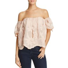 Lovers and Friends Life's a Beach Embroidered Floral Off-the-Shoulder... ($145) ❤ liked on Polyvore featuring tops, pink, see through tops, pink top, off the shoulder crochet top, embroidered top and pink crochet top