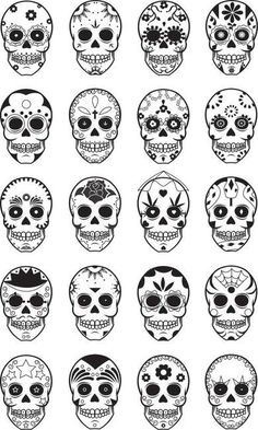 I would love a dia de los muertos tattoo, these are excellent ideas Candy Skulls, Skull Candy Tattoo, Candy Skull Face Paint, Sugar Skull Painting, Sugar Skull Stencil, Sugar Skull Art, Sister Tatto, Los Muertos Tattoo, Tattoo Caveira