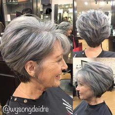 Gray Pixie Bob For Older Women #longhairdosforolderwomen