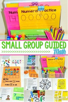 Kindergarten Small Group Guided Math includes hands on learning. Printables and number practice.