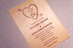 Real Wood Wedding Invitation - Heart and Initials Etched on a Tree on Etsy, $10.00