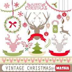 Christmas clipart: VINTAGE CHRISTMAS with reindeer by MashaStudio