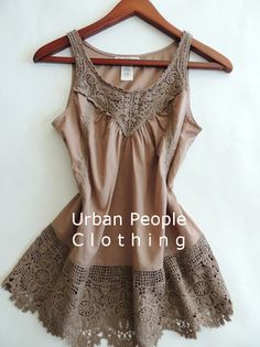 $78 Crochet Tank Modcloth Vtg Top M Taupe Free spirit  Urban People Clothing