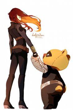 Black Widow and Bucky Bear