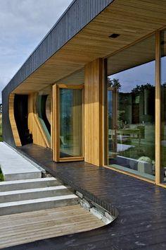 Zeitgenössische Kabine - Delene Kabine mit Holzfassade und Glaswände