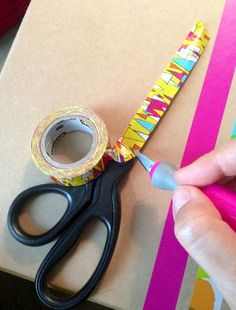 decorate scissors and other office tools with cute tape and dimensional magic #tutorial