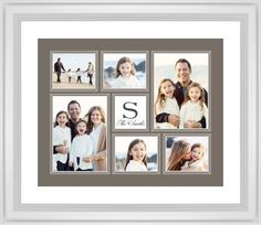 Classic Monogram Framed Print, White, Classic, Black, White, Single piece, 16 x 20 inches, Brown