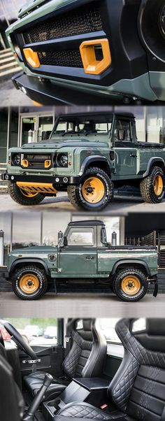 Kahn Design Customised Land Rover Defender Pick-Up For more deitail: - Diesel, Land Rover Defender, Kahn Defender, Cool Trucks, Cool Cars, Kahn Design, Pajero Sport, Offroader, Jeep Truck