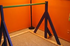 "DIY gymnastics bar - put pink instead of purple. The bar itself can be ""regular. Diy Gymnastics Bar, Gymnastics Room, Gymnastics Equipment, Gymnastics Stuff, Gym Equipment, Gym Bar, V Force, Home Projects, Outdoor Projects"