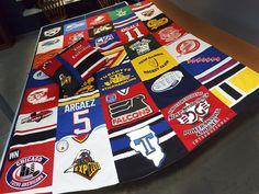 Hockey jersey quilt! http://www.hugs-from-heaven.com