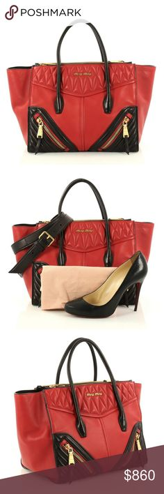 Miu Miu Biker Convertible Tote Leather Medium Condition  Great. Scuffs and  indentations on base bca88fb55d933