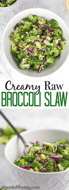 Creamy raw broccoli slaw is a healthy, vegetable-forward dish that is packed with so much flavour from the homemade creamy dressing, salty feta, and lots of sweet raisins — you will be shocked that it's actually good for you! | aheadofthyme.com #slaw #broccoli #salad #vegetarian via @aheadofthyme