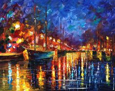 """Original Recreation Oil Painting on Canvas   Title: Night Port Size: 30"""" x 24"""" Condition: Excellent Brand new Gallery Estimated Value: $4,500 Type: Original Recreation Oil Painting on Canvas by Palette Knife  This is a recreation of a piece which was already sold.  The recreation is 100..."""