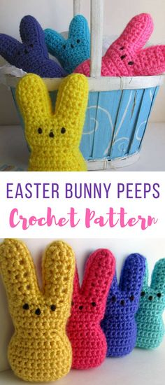 omg the cuteness! who thought of this?? crochet easter bunny peeps pattern?? really wowww so adorable! #crocheteasterpatterns #easterpatternscrochet #crochetbunny #crochetpeeps #crochet #affiliate