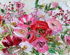 Grande Original pintura al óleo Impasto espátula coloridas
