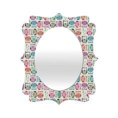Sharon Turner Light Sherbet Owls Quatrefoil Mirror