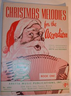 """VINTAGE SHEET MUSIC FOR ACCORDION """"CHRISTMAS MELODIES FOR THE ACCORDION"""" 1958"""
