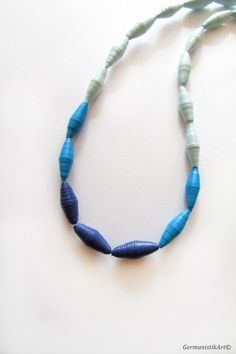 Ombre Blue Paper Bead Necklace, Eco friendly Paper Jewelry, Quilled Statement Beaded Necklace