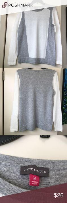 Vince Camuto, M, Colorblocked Sweater, Cream/gray. Vince Camuto, Medium, Colorblocked Sweater, Cream/gray.  Excellent condition, crew neckline, width 17 across or 34 inches around, length 25 inches.  100% soft cotton. Vince Camuto Sweaters Crew & Scoop Necks