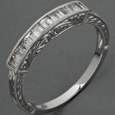 Wedding Band Baguette Diamonds White Gold