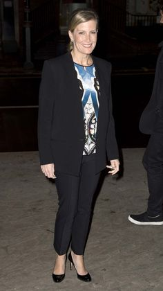 Sophie Countess of Wessex arrives for @TPcharity evening of readings by the cast of #DowntonAbbey St Georges London