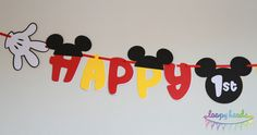 Mickey Mouse Birthday Banner. $18.00, via Etsy.