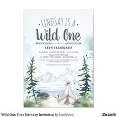 Wild One First Birthday Invitation Adventure Couple, Greatest Adventure, Adventure Awaits, Couples Shower Invitations, First Birthday Invitations, Couples Shower Themes, Party Invitations, Invites, Camping In The Woods