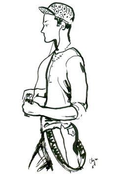 Fashion illustrator Clym Evernden draws the London Collections: Men (Vogue.com UK)