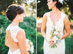 sweet scallop lace dress, braided updo and juliet austin rose + scabiosa bouquet