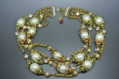 Vintage Chanel faux pearl capped green red gripoix multi-strands collar necklace