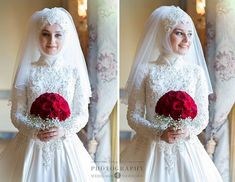 You would most likely demand to think about outdoor wedding ideas if both you and your husband don't such as the idea of getting wed in a ha. Bridal Hijab, Hijab Bride, Wedding Hijab, Bride Groom Dress, Wedding Wear, Wedding Cakes, Dress Wedding, Muslimah Wedding Dress, Muslim Brides