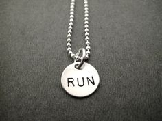 RUN  JUST RUN Sterling Silver Running Necklace  Hand by TheRunHome