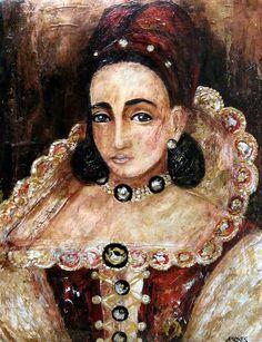Countess Elizabeth Báthory de Ecsed Inspired by the 1585 original portrait of Elizabeth Báthory Acrylics 11x14 paper