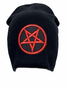 afda70702a9 Details about Red Inverted Pentagram Black Beanie Black Metal Gothic Goth Cap  Hat Punk Winter