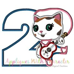 Sheriff Callie Two Applique Design by Appliques With Character Vinyl Projects, Fun Projects, Applique Designs, Machine Embroidery Designs, Cat Embroidery, Sheriff Callie Birthday, Appliques, Disney Characters, Fictional Characters