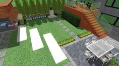 3d Landscape, Landscape Designs, Privacy Panels, Fence Panels, Birds Eye View, Planters, Bloom, Garden, Artist