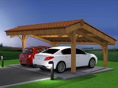 Démo montage abri voiture bois / carport 2 places en kit - YouTube